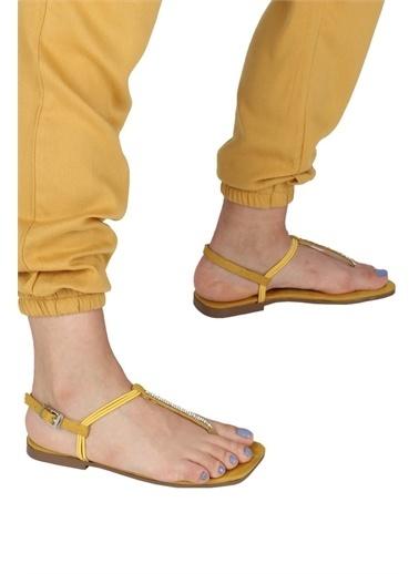 Modabuymus Modabuymus Parmak Arası Taşlı  Süet Sandalet - CIDE Sarı